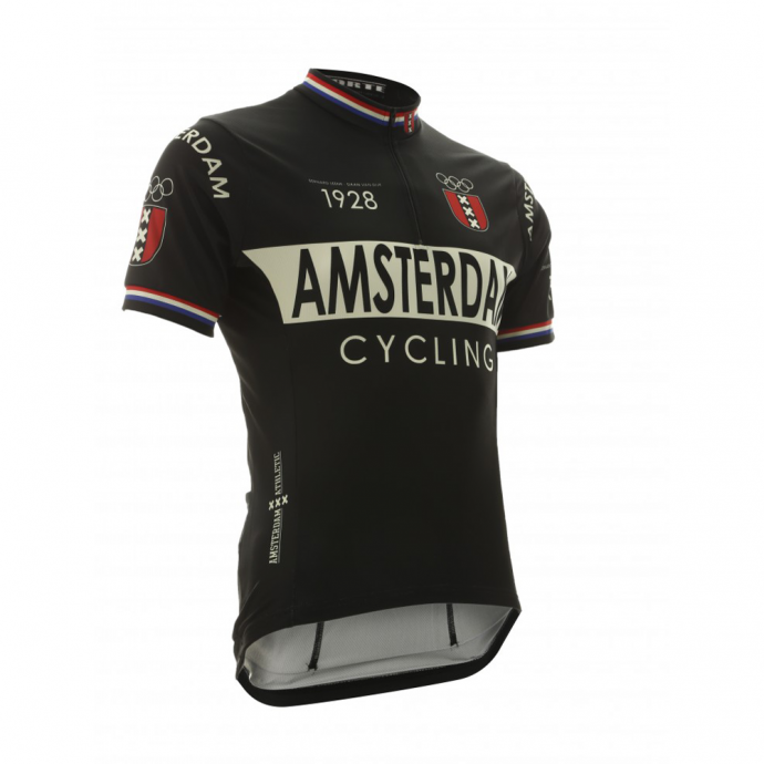 Vintage Amsterdam wielershirt zwart